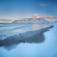 Skagsanden beach in winter, Flakstadøy, Lofoten Islands, Norway