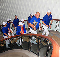 Thomas Bjorn and Team Europe heading to the interview room after Team Europe overcame Asia 14/10 to win the Eurasia Cup at Glenmarie Golf and Country Club on the Sunday 14th January 2018.<br /> Picture:  Thos Caffrey / www.golffile.ie