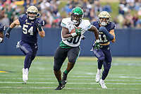 Annapolis, MD - October 26, 2019: Tulane Green Wave tight end Tyrick James (80) runs after catching a pass during the game between Tulane and Navy at  Navy-Marine Corps Memorial Stadium in Annapolis, MD.   (Photo by Elliott Brown/Media Images International)