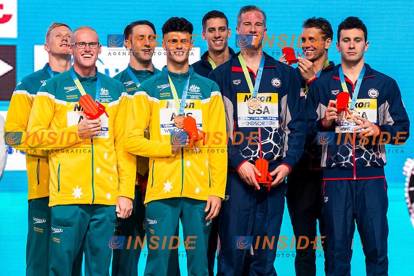 Australia AUS <br /> United States USA   Bronze Medal<br /> Men's 4x100m Freestyle<br /> 13th Fina World Swimming Championships 25m <br /> Windsor  Dec. 6th, 2016 - Day01 Finals<br /> WFCU Centre - Windsor Ontario Canada CAN <br /> 20161206 WFCU Centre - Windsor Ontario Canada CAN <br /> Photo &copy; Giorgio Scala/Deepbluemedia/Insidefoto