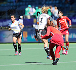 The Hague, Netherlands, June 13: Eileen Hoffmann #11 of Germany defends during the match during the field hockey placement match (Women - Place 7th/8th) between Korea and Germany on June 13, 2014 during the World Cup 2014 at Kyocera Stadium in The Hague, Netherlands. Final score 4-2 (2-0)  (Photo by Dirk Markgraf / www.265-images.com) *** Local caption ***