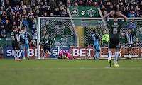 Barry Richardson of Wycombe Wanderers saves the ball during the Sky Bet League 2 match between Plymouth Argyle and Wycombe Wanderers at Home Park, Plymouth, England on 30 January 2016. Photo by Mark  Hawkins / PRiME Media Images.