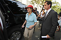 Frances Weiner and her son Anthony Weiner depart from Brooklyn Technical High School after a campaign stop on Thursday, August 15, 2013 in New York. (AP Photo/ Donald Traill)