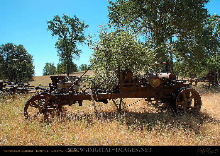 Antique Farm Equipment, Farm Field, Mariposa, California