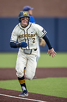 Michigan Wolverines shortstop Jack Blomgren (2) sprints towards home plate against the Indiana State Sycamores on April 10, 2019 in the NCAA baseball game at Ray Fisher Stadium in Ann Arbor, Michigan. Michigan defeated Indiana State 6-4. (Andrew Woolley/Four Seam Images)