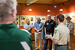 President Nellis and other Ohio University faculty members listen to rangers at The Wayne National Forest Headquarters as part of The Faculty/President Nellis Fall Orientation Tour on Sept. 10, 2017.