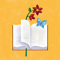 Book with butterfly and flower