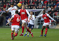 Preston North End's Lukas Nmecha beats Rotherham United's Sean Raggett in the air and heads towards goal<br /> <br /> Photographer David Shipman/CameraSport<br /> <br /> The EFL Sky Bet Championship - Rotherham United v Preston North End - Tuesday 1st January 2019 - New York Stadium - Rotherham<br /> <br /> World Copyright © 2019 CameraSport. All rights reserved. 43 Linden Ave. Countesthorpe. Leicester. England. LE8 5PG - Tel: +44 (0) 116 277 4147 - admin@camerasport.com - www.camerasport.com