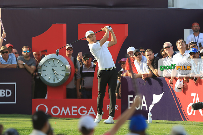Haotong Li (CHN) on the 17th tee during Round 4 of the Omega Dubai Desert Classic, Emirates Golf Club, Dubai,  United Arab Emirates. 27/01/2019<br /> Picture: Golffile | Thos Caffrey<br /> <br /> <br /> All photo usage must carry mandatory copyright credit (© Golffile | Thos Caffrey)