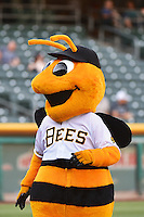 Bumble the Salt Lake Bees mascot during the game against the Tacoma Rainiers in Pacific Coast League action at Smith's Ballpark on July 8, 2014 in Salt Lake City, Utah.  (Stephen Smith/Four Seam Images)