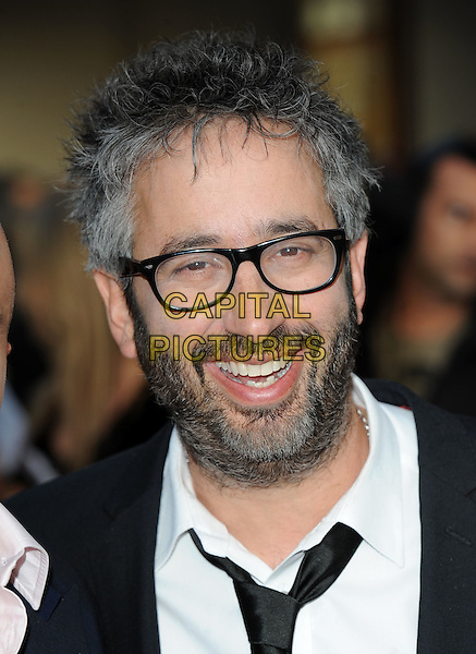 "DAVID BADDIEL .The World Premiere of ""The Infidel"", Hammersmith Apollo, London, England..8th April 2010.headshot portrait black white mouth open beard facial hair glasses .CAP/BEL.©Tom Belcher/Capital Pictures."