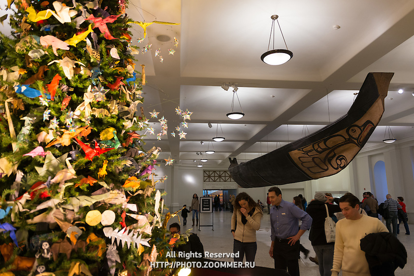 The Ancient Great Canoe and Origami Tree At American Museum of Natural History in New York