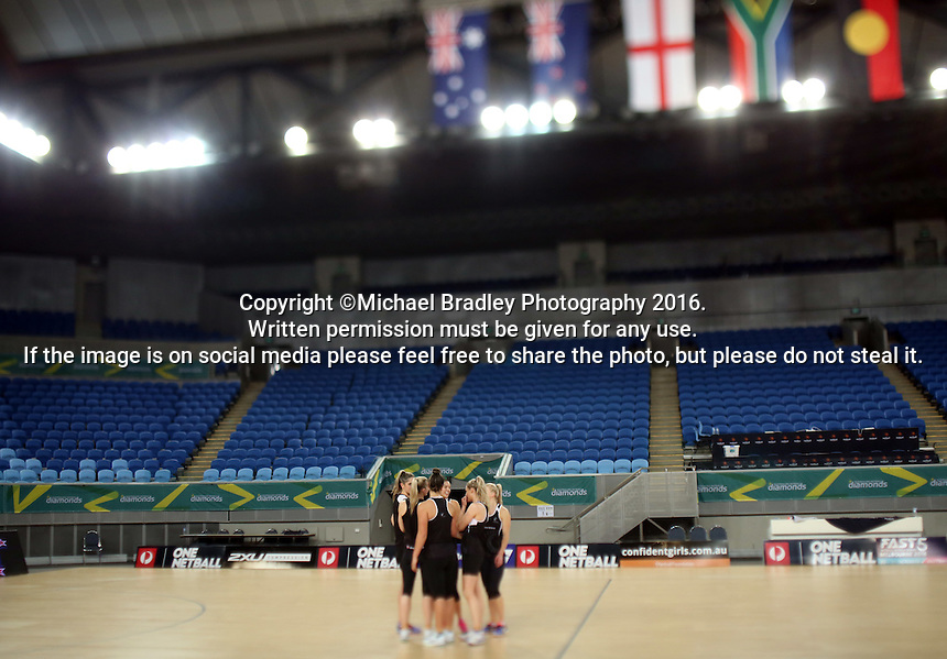 02.09.2016 Silver Ferns have a walk though during training in Melbourne Australia ahead of their match against Australia. Mandatory Photo Credit ©Michael Bradley.