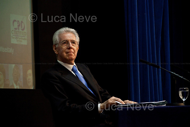 """Mario Monti, Italian Prime Minister - 2012<br /> <br /> London, 18/01/2012. Today LSE (London School of Economics) presented a public lecture called """"The EU in the global economy: challenges for growth"""" hosted by the Italian Prime Minister, Mario Monti. Chair of the event was Peter Sutherland (Irish international businessman, chairman of Goldman Sachs International and Chair of London School of Economics). Outside the LSE theatre stage of the public lecture protesters gathered to demonstrate against """"A bankers' Europe""""."""