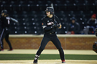 Zach Britton (34) of the Louisville Cardinals at bat against the Wake Forest Demon Deacons at David F. Couch Ballpark on March 6, 2020 in  Winston-Salem, North Carolina. The Cardinals defeated the Demon Deacons 4-1. (Brian Westerholt/Four Seam Images)