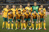MELBOURNE, 11 JUNE 2013 - The Australian team pose for a team photograph prior to their Round 4 FIFA 2014 World Cup qualifier match between Australia and Jordan at Etihad Stadium, Melbourne, Australia. Photo Sydney Low for Zumapress Inc. Please visit zumapress.com for editorial licensing. *This image is NOT FOR SALE via this web site.