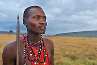 Portrait of a Masai tribesman at dawn holding a spear in the Masai Mara, Kenya, Africa