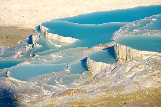 Photo & Image  of Pamukkale Travetine Terrace, Turkey. Picture of the white Calcium carbonate rock formations. Buy as stock photos or as photo art prints. 4 Pamukkale travetine terrace water cascades, composed of white Calcium carbonate rock formations, Pamukkale, Anatolia, Turkey