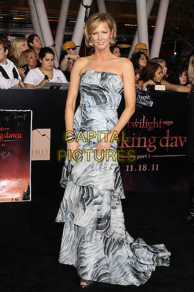 MELISSA ROSENBERG.The Los Angeles premiere of 'The Twilight Saga Breaking Dawn Part 1' at Nokia Theatre at L.A. Live in Los Angeles, California, USA..November 14th, 2011.full length blue strapless grey gray white print dress tiered layered layers .CAP/CEL .©CelPh/Capital Pictures