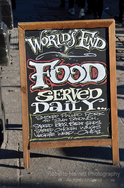Food served daily sign outside a pub