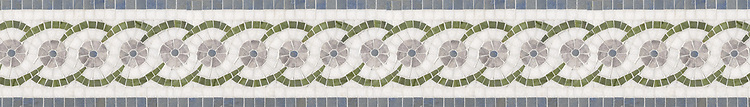 "5 7/8"" Caliope border, a hand-cut stone mosaic, shown in polished Thassos, Chartreuse, Blue Macauba, and Lavender Mist."