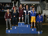 March 9th 2008: Pictured out of order; Andrew Lenzi of Fordham Prep; Brian Benton of Amsterdam; Stephen Dutton of Hauppauge; Mike Doria of Massapequa; Ryan Blauvelt of Oswego; and Brandan Mckeown of BHBL pose on the podium for the 130 weight class during the NY State Wrestling Championship finals at Blue Cross Arena on March 9, 2009 in Rochester, New York.  (Copyright Mike Janes Photography)