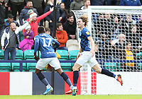 Blackburn Rovers' Sam Gallagher (right) celebrates with team-mate Amari'i Bell after scoring his side's second goal <br /> <br /> Photographer Rich Linley/CameraSport<br /> <br /> The EFL Sky Bet Championship - Preston North End v Blackburn Rovers - Saturday 26th October 2019 - Deepdale Stadium - Preston<br /> <br /> World Copyright © 2019 CameraSport. All rights reserved. 43 Linden Ave. Countesthorpe. Leicester. England. LE8 5PG - Tel: +44 (0) 116 277 4147 - admin@camerasport.com - www.camerasport.com