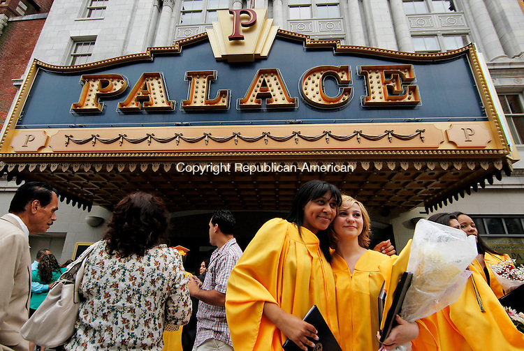 Waterbury, CT-16, June 2010-061610CM09 Kaynor Tech graduates celebrate with family and friends outside the Palace Theater in downtown Waterbury Wednesday night. --Christopher Massa Republican-American
