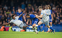 Beni Baningime of Everton goes flying into Pedro of Chelsea with both feet off the ground to give away a foul during the Carabao Cup round of 16 match between Chelsea and Everton at Stamford Bridge, London, England on 25 October 2017. Photo by Andy Rowland.