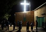 NIGER Zinder, catholic church with illuminated cross, the church was attacked after release of mohammed movie / NIGER Zinder, diese katholische Kirche wurde von einem Mob nach Erscheinen des Mohammed Films verwuestet