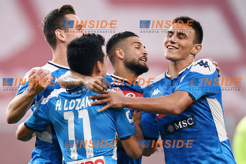 Hirving Lozano of SSC Napoli celebrates with Arkadiusz Milik and Lorenzo Insigne after scoring the goal of 1-2 during the Serie A football match between Genoa CFC and SSC Napoli stadio Marassi in Genova ( Italy ), July 08th, 2020. Play resumes behind closed doors following the outbreak of the coronavirus disease. <br /> Photo Matteo Gribaudi / Image / Insidefoto