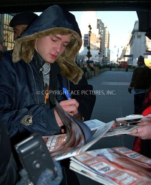 Justin Timberlake in New York. Circa 2002. Mandatory byline: Jose Perez/NY Photo Press.   ..*PAY-PER-USE*      ....NY Photo Press:  ..phone (646) 267-6913;   ..e-mail: info@nyphotopress.com