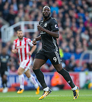 Romelu Lukaku of Man Utd during the Premier League match between Stoke City and Manchester United at the Britannia Stadium, Stoke-on-Trent, England on 9 September 2017. Photo by Andy Rowland.