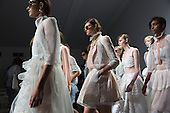 London, UK. 12 September 2014. Modelsl walk the runway at the rehearsal for the Bora Aksu show at London Fashion Week SS15 at the BFC Courtyard Show Space at Somerset House, London, England. Photo: CatwalkFashion/Alamy Live News