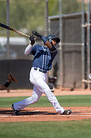 San Diego Padres center fielder Jeisson Rosario (53) follows through on his swing during an Extended Spring Training game against the Colorado Rockies at Peoria Sports Complex on March 30, 2018 in Peoria, Arizona. (Zachary Lucy/Four Seam Images)