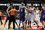 Real Madrid´s players argue with Barcelona´s players during Liga Endesa Final first match at Palacio de los Deportes in Madrid, Spain. June 19, 2015. (ALTERPHOTOS/Victor Blanco)