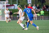 Boston, MA - Friday August 04, 2017: Maegan Kelly and Amanda Frisbie during a regular season National Women's Soccer League (NWSL) match between the Boston Breakers and FC Kansas City at Jordan Field.