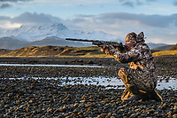 Outfoorlife Editor John Snow during a waterfowl hunt in Cold Bay, Alaska, Monday, October 31, 2016. The Izembek National Wildlife Refuge lies on the northwest coastal side of central Aleutians East Borough along the Bering Sea and Cold Bay. Birds hunted include the long tailed duck, the Steller's Eider, the Harlequin, the King Eider and Brant.<br /> <br /> <br /> Photo by Matt Nager