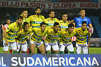 BARRANQUILLA -COLOMBIA, 25-10-2018:Formación de  Defensa y Justicia de Argentina ante el Atlético Junior de Colombia partido por los cuartos de final  de La Copa Conmebol Sudamericana 2018,jugado en el estadio Metropolitano Roberto Meléndez  de la ciudad de Barranquilla./ Team of  Defensa and Justicia of Argentina agaisnt of Atletico Junior of Colombia  game for the quarter finals of the Conmebol Sudamericana Cup  2018, played at the Metropolitano Roberto Melendez stadium in Barranquilla  city. Photo: VizzorImage/ Alfonso Cervantes  / Contribuidor
