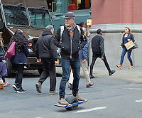 www.acepixs.com<br /> <br /> March 1 2017, New York City<br /> <br /> TV personailty and designer Adam Savage rides a single wheeled skateboard through Soho on March 1 2017 in New York City<br /> <br /> By Line: Curtis Means/ACE Pictures<br /> <br /> <br /> ACE Pictures Inc<br /> Tel: 6467670430<br /> Email: info@acepixs.com<br /> www.acepixs.com