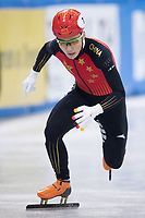 1st February 2019, Dresden, Saxony, Germany; World Short Track Speed Skating; 1000 meters men in the EnergieVerbund Arena. Ziwei Ren from China on the track.