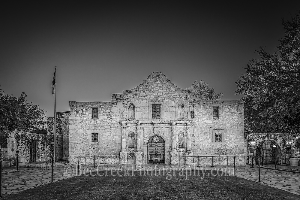 This is an  image of the Alamo in San Antonio in black and white where there was a brief moment of no one in front of it.  This is landmark part of the cttyscape of S A and it draws thousand of tourist year round to come to the mission and discover the historic significance of this place.  It is treated with a lot of reverence so respect must be shown when inside at all times. Watermark will not appear on image