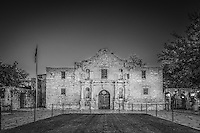 This is an  image of the Alamo in San Antonio in black and white where there was a brief moment ot no one in front of it.  This is landmark part of the cttyscape of S A and it draws thousand of tourist year round to come to the mission and discover the historic significance of this place.  It is treated with a lot of reverence so respect must be shown when inside at all times. Watermark will not appear on image