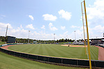 04 June 2016: A wide shot of Coleman Field from beyond the left field foul pole. The Nova Southeastern University Sharks played the Millersville University Marauders in Game 14 of the 2016 NCAA Division II College World Series  at Coleman Field at the USA Baseball National Training Complex in Cary, North Carolina. Nova Southeastern won the game 8-6 and clinched the NCAA Division II Baseball Championship.