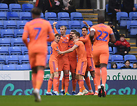 25th January 2020; Madejski Stadium, Reading, Berkshire, England; English FA Cup Football, Reading versus Cardiff City; Callum Paterson of Cardiff City celebrates with his team after scoring in the 5th minute 0-1