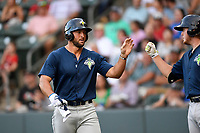 Designated hitter Tim Tebow (15) of the Columbia Fireflies is greeted after scoring a run in a game against the Greenville Drive on Thursday, June 15, 2017, at Fluor Field at the West End in Greenville, South Carolina. Columbia won, 7-2. (Tom Priddy/Four Seam Images)