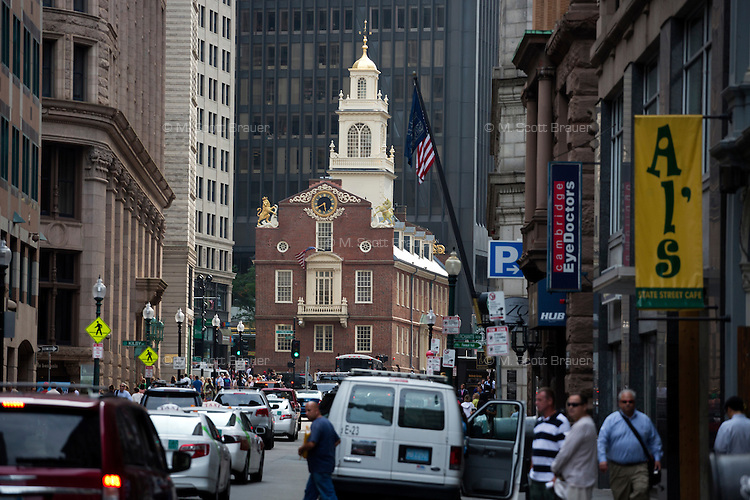 The Old State House near Downtown Crossing in Boston, Massachusetts, USA, is where the Boston Massacre occurred.