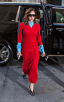 www.acepixs.com<br /> <br /> February 6 2017, New York City<br /> <br /> Designer Victoria Beckham dazzles in red as she arrives back at her hotel on February 6 2017 in New York City<br /> <br /> By Line: John Peters/ACE Pictures<br /> <br /> <br /> ACE Pictures Inc<br /> Tel: 6467670430<br /> Email: info@acepixs.com<br /> www.acepixs.com