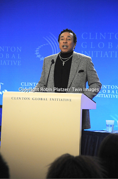 Smokey Robinson speaks at the Press Conference at the Clinton Global Initiative for Proctor and Gamble and Smokey Robinson to announce new Social Media Partnership for Clean Drinking Water on September 23, 2012 at The Sheraton Hotel in New York City.