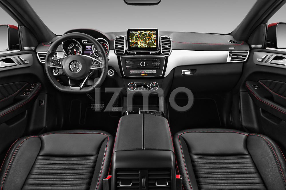 Stock photo of straight dashboard view of 2016 Mercedes Benz GLE-Class 350 5 Door SUV Dashboard